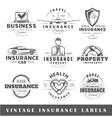 Set of vintage insurance labels vector image