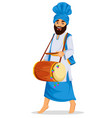 sikh man with decorated drum vector image