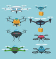 sky landscape background set quadrocopters and vector image