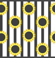 stylized sunflower on striped background vector image
