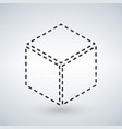 three dimensional or 3d cube hexahedron flat icon vector image vector image