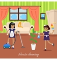Two Girls in Uniform and Apron Make House Cleaning vector image vector image