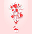 valentine day greeting card cut out paper hearts vector image vector image