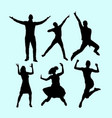 winner and happy people action silhouette vector image vector image