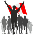 Winner with the Canada flag at the finish vector image vector image