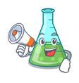 with megaphone science beaker character cartoon vector image vector image