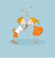 Boy kisses girl gives flower Valentines day vector image