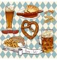 beer set with glasses pretzel sausages vector image