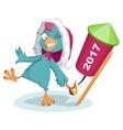 Blue Rooster Santa symbol 2017 to light fireworks vector image vector image