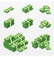 bunches money in cartoon 3d style set vector image