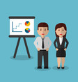 businessman and businesswoman workers presentation vector image