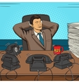 Businessman relaxed at work pop art vector image