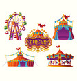 Carnival circus icons with a tent carousels