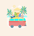 cartoon color summer bus transportation vector image vector image