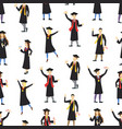 cartoon graduation of happy students seamless vector image
