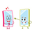cartoon mobile phone characters one showing love vector image