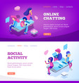 chat landing virtual relationship people talking vector image vector image