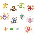 collection animals number for children vector image vector image