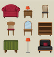 different types of furnitures vector image