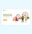 family walking near attraction website vector image