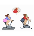 Fat girls are training on the bike vector image