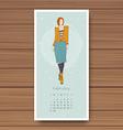 february hand drawn fashion models calendar 2016 vector image vector image