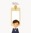 first communion child foreground on vertical card vector image vector image