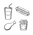 French fries hot dog chicken leg ans soda vector image vector image