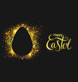 horizontal greeting card with egg on a black vector image