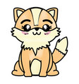 isolated cute standing fox vector image vector image
