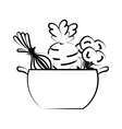 kitchen pot with healthy food isolated icon vector image vector image