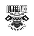 lumberman skull in knitted hat retro emblem vector image vector image