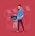 man holding camera on tripod modern video blogger vector image vector image
