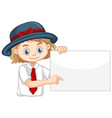 one happy girl holding blank paper vector image vector image