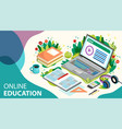 online learning concept online education with vector image vector image