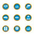paid parking icons set flat style vector image vector image