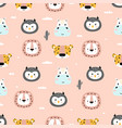 pattern with cartoon tropical animals on pink vector image