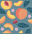 peach seamless pattern leaves flowers vector image vector image