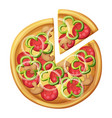 pizza top view green sweet pepper sausages vector image vector image