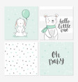 set cute bashower cards including bunny vector image vector image