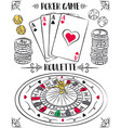 set of gambling symbols roulette ace dice vector image