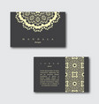 set of ornamental business cards with mandala vector image