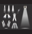 set stage spotlights on transparent background vector image