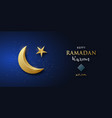 shiny golden crescent moon on blue background vector image vector image