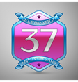Thirty seven years anniversary celebration silver vector image vector image