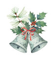 watercolor christmas bouquet with bell vector image vector image