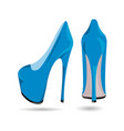 womens blue patent leather shoes vector image vector image