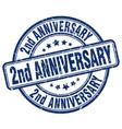 2nd anniversary blue grunge stamp
