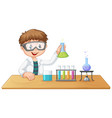 a boy in chemistry class vector image vector image