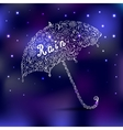 Abstract umbrella with rain on the blue background vector image